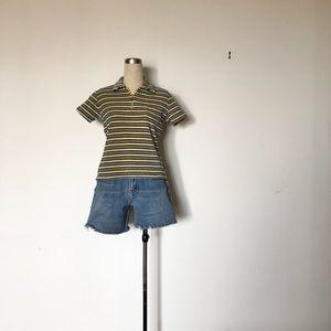 Basic Red - Vintage Striped Velour Zip T-Shirt